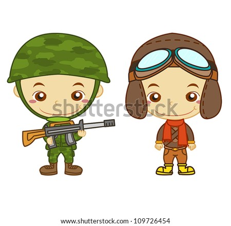 A army soldier and a airman isolated on white background. - stock vector