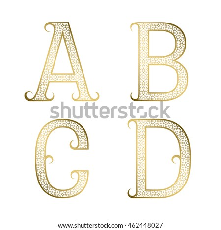 A, B, C, D golden ornamental letters with flourishes. Decorative patterned vintage font.
