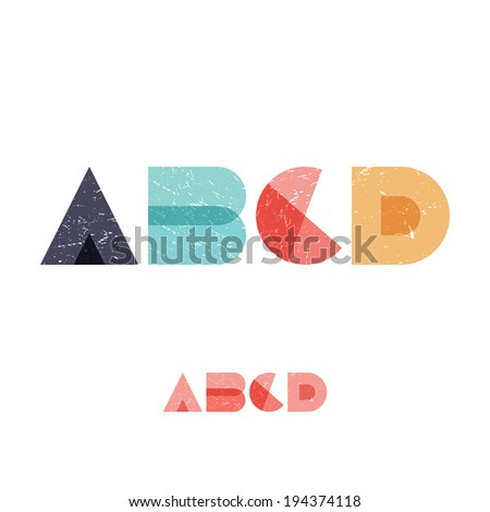 A B C D - Grunge Flat Alphabet Set - Vector Illustration - stock vector