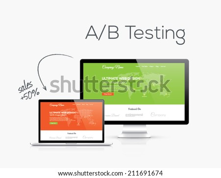 A/B testing optimization in website design vector illustration. Which one converts better. - stock vector
