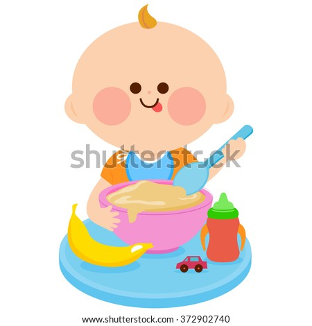 A baby boy is having his breakfast of cereal and fruits. - stock vector