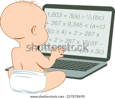 A baby studying a dummy or fake mathematical formula on a laptop computer. Vector illustration - stock vector