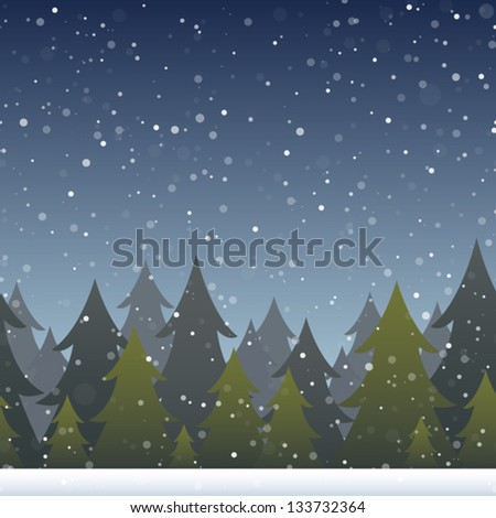 A background depicting a snowy evergreen forest. Horizontally repeatable. Eps 10 Vector. - stock vector