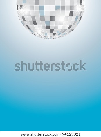A background with a partial image of a disco ball at the top margin, and a graduated blue background filling out the rest of the page.