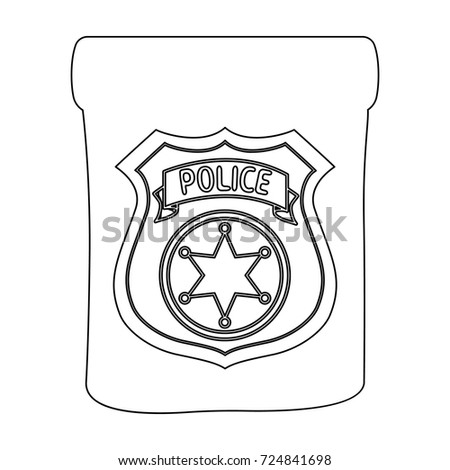 a badge a police badge detective and police single icon in outline style vector