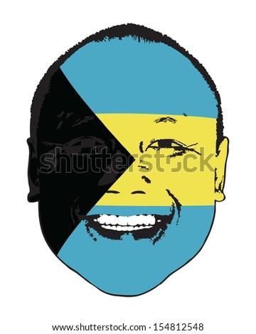 A Bahamas flag on a face, isolated against white.  - stock vector