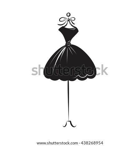 a ball gown short mannequin hand drawing illustration on a white background