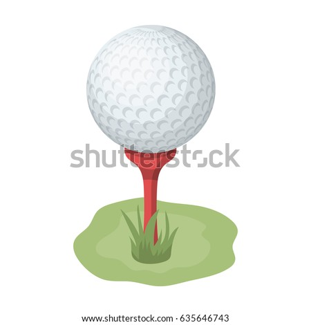 A ball of golf equipment. A golf ball on a brown pedestal. A white golf ball.Golf club single icon in cartoon style vector symbol stock illustration web.