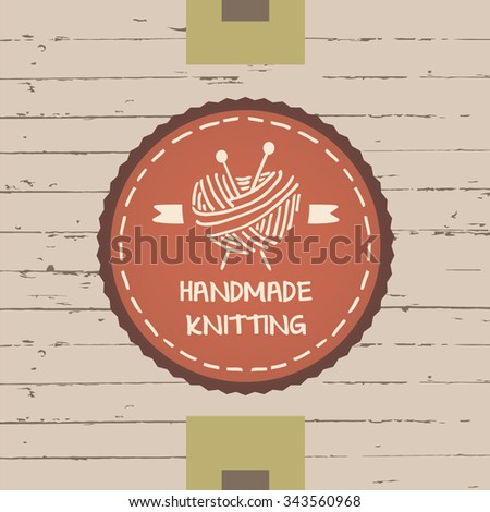 A ball of yarn in the form of heart, yarn and knitting needles.Hand drawn vector logo. Knit and Crochet.  - stock vector
