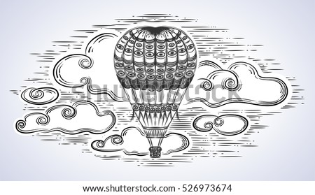 A balloon with a cloudy sky.Vintage.Hot air balloon