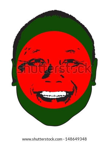 A Bangladesh flag on a face, isolated against white.  - stock vector