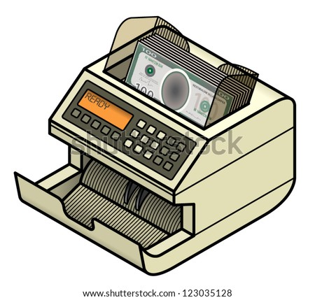 A bank note / money counting machine loaded with plain 100 dollar bills.