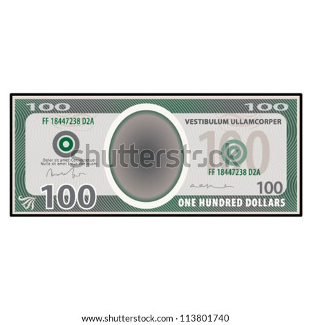 A $100 bank note / paper money. - stock vector