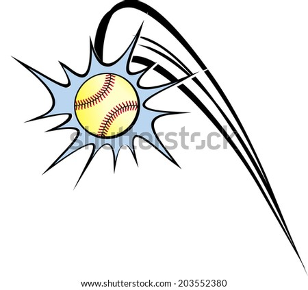 a baseball or softball in a cartoon like action ornament as if it is a home run. - stock vector