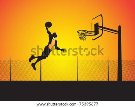 a basketball player do a big slam dunk - stock vector