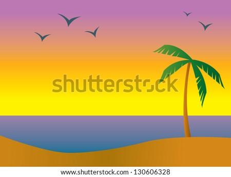 A beach in a tropical setting during sundown or sunrise. - stock vector