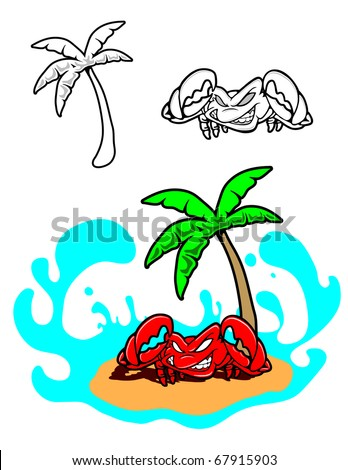 A beach scene featuring a crab and palm tree.