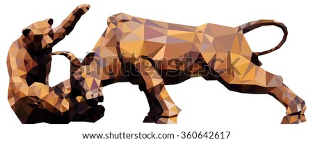 A bear fighting a bull for the concept of financial market conditions, low poly vector illustration.