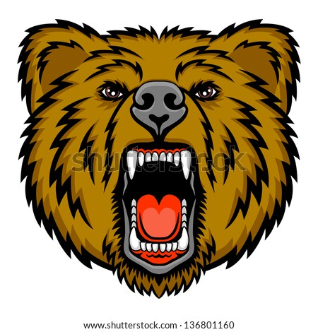 A Bear head. This is vector illustration ideal for a mascot and tattoo or T-shirt graphic. - stock vector