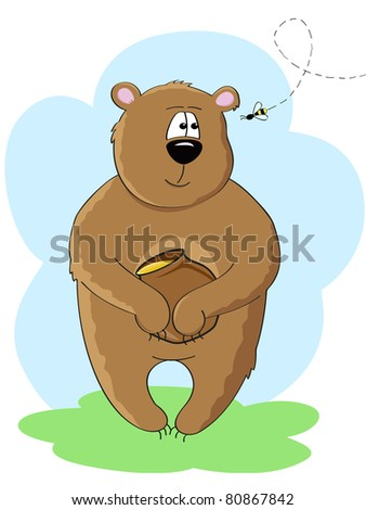 a bear with honey pot in his paws looking at the bee - stock vector