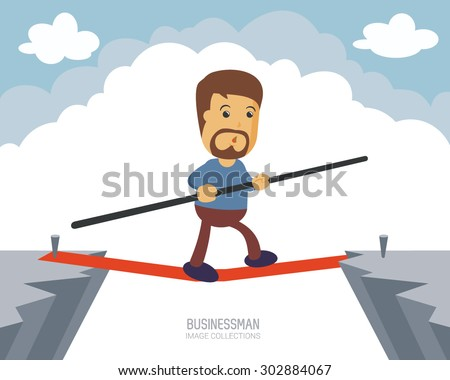 a bearded businessman walking on a rope between cliff holding balancing stick. a metaphor of safe and balance strategy in business and office. Perfect to use for website or magazine illustration.