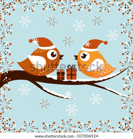 A beautiful Christmas card with the birds - stock vector