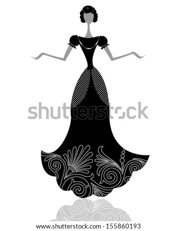 young smart brunette in little black dress royalty free