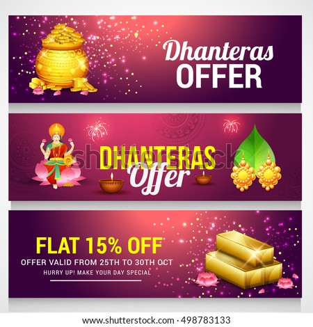 A beautiful header or banner with golden shiny pot filled with gold coins of indian dhanteras diwali festival celebration background.Happy dhanteras