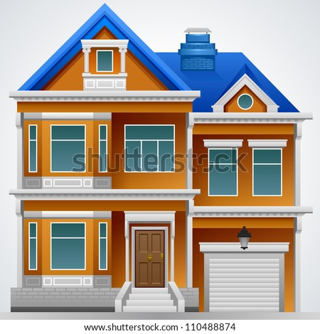 A beautiful house. Vector image. Detailed drawing. - stock vector