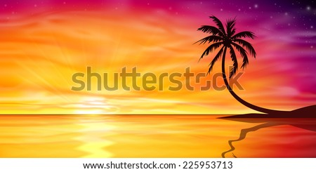 A Beautiful Ocean Sunset, Sunrise with Palm Tree. - Vector EPS 10