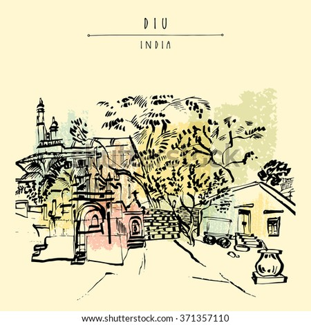 A beautiful Portuguese church in Diu, India. Hand drawn cityscape sketch. Travel art. Vintage artistic postcard template. Vector illustration