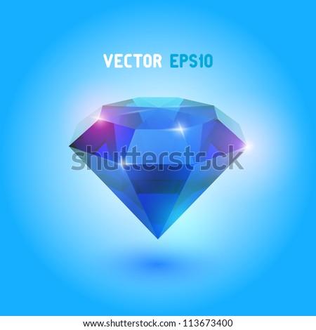 A beautiful sapphire gem - stock vector