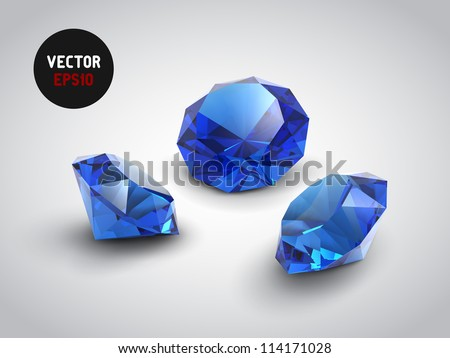 A beautiful sapphire gems (vector objects) - stock vector