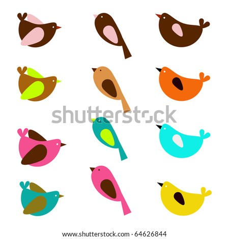 a beautiful set of colorful sparrows in vector