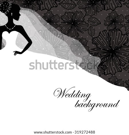 A beautiful silhouette of a bride in a dress on a black background with patterns - stock vector