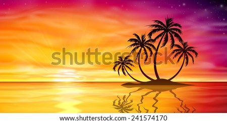 A Beautiful Sunset, Sunrise with Island and Palm Trees - Vector EPS 10.