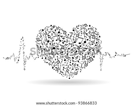 A beautiful valentine card with musical heart shape and heart beats on white isolated background for Valentines Day and other occasions. - stock vector