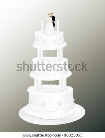 A beautiful wedding cake that has a loving bride and groom on the top layer. All elements are on separate layers for easy editing. Can be placed on any color background. - stock vector