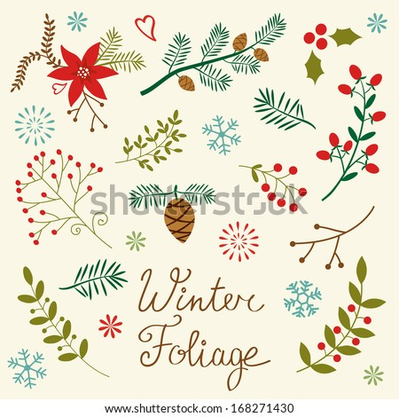 A beautiful winter foliage collection - stock vector