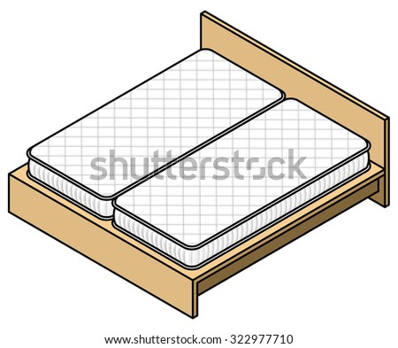 A bed frame with two mattresses. - stock vector