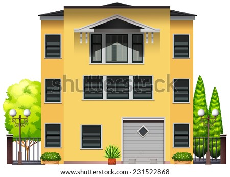 A big building with trees on a white background  - stock vector