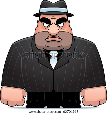 A big cartoon mobster in a suit.