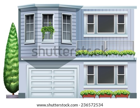 A big grey building on a white background - stock vector