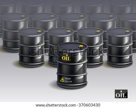 A big group of black new oil barrels. vector - stock vector