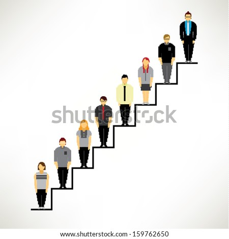 A Big Group of Businessman Gather On the Stairs Together Vector Design
