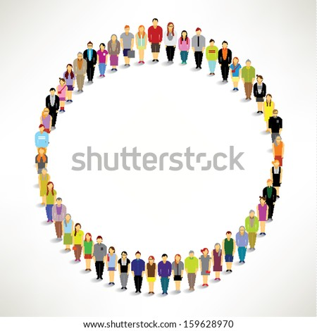 A Big Group of People Gather Together In Circle Shape Vector Design - stock vector