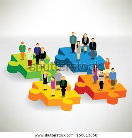 A big group of people standing on puzzle and finding solution conceptual vector design - stock vector