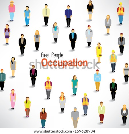 A big group of people with different occupation gather together vector design - stock vector