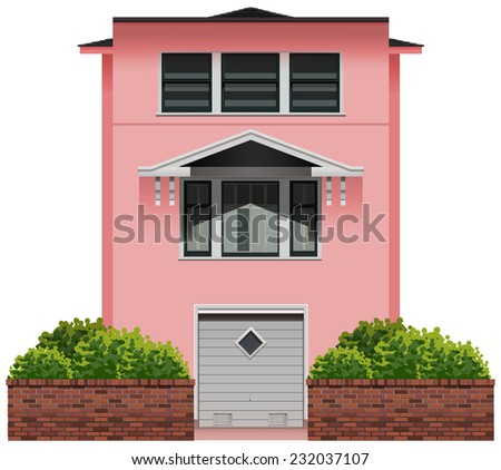 A big pink building on a white background