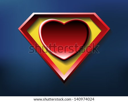 a big red heart shaped like a superhero shield, symbol for strong love, eps10 vector - stock vector